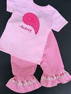 Personalized paisley pink Valentine's day outfit, Girls ruffle pants valentine's day outfit, toddler girl valentine's day clothes