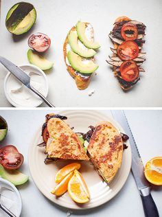Brunch Sandwich -- roasted portabella with avocado, tomoato, and cream cheese atop chipotle + sourdough french toast // neverhomemaker