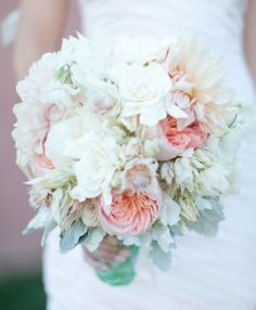 ROMANTIC PASTEL BOUQUET  MORE  INFO  DESCRIPTION: This romantic bouquet of dahlias, English roses, gardenia, and peonies accented with dusty miller is the perfect finishing touch to your ensemble. Image: Bouquet Bouquet
