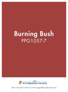 Burning Bush PPG1057-7 from PPG Pittsburgh paints is a true red. This paint color hue is not shy and should be used in areas where you want excitement and energy, like a kitchen, dining room, or, for those who like it – an office.