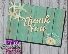Printable BEACH THANK YOU Card  Beach by ShinySparklyParties
