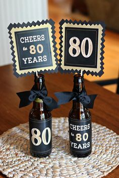 80TH BIRTHDAY DECORATIONS 80th Party Centerpiece Table Decorations Beer Bottle Labels Birthday For H 40th