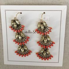 "I just added this to my closet on Poshmark: Coral Cay Earrings. Price: $29 Size: 2 3/4"" drop"