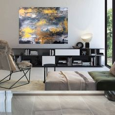 Oversized Abstract Painting-Office Wall Art Industrial Decor image 1 Large Abstract Wall Art, Large Artwork, Large Painting, Oversized Wall Art, Office Wall Art, Office Decor, Extra Large Wall Art, Modern Wall Decor, Textured Walls