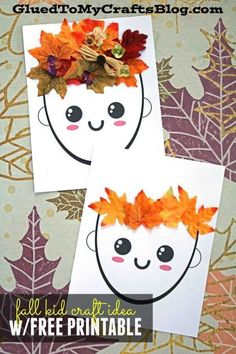 Mixed Media Leaf Hair & Crown – Fall Kid Craft Idea – Free Printable included to get you started! - Mixed Media Leaf Hair and Crown - Fall Kid Craft Tutorial Easy Fall Crafts, Fall Crafts For Kids, Thanksgiving Crafts, Toddler Crafts, Art For Kids, Summer Crafts, Easter Crafts, Fall Art For Toddlers, Leaf Crafts Kids