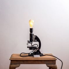 Industrial Microscope Lamp, Reclaimed Science Laboratory Lighting, Unique Upcycled Light with Vintage Edison LED Bulb