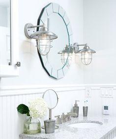 white marble bathroom Sarah Richardson wood beadboard and molding with marble, painted wood vanity. Sarah Richardson, Sara Richardson Design, Grey Wall Color, Bathroom Inspiration, Bathroom Ideas, Bathroom Designs, Bathroom Makeovers, Bath Ideas, Best Bath