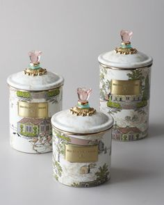 Make-up brush holder or beautiful canister for vanity storage. MacKenzie-Childs Aurora Canisters - Neiman Marcus
