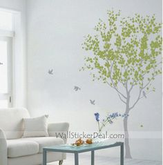 Lovely Tree with Birds and Post Box Wall Sticker