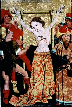 15th century (1455-1460) Austria- Styria Sankt Lorenzen ob Murau altar paintings in the local church - Martyrdom of Saint Margaret. tempera on wood