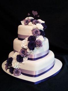 Kuchen Ideen :) Heart shaped wedding cakes - # Is It Really Teak Wood? 3 Teir Wedding Cake, Purple Wedding Cakes, Beautiful Wedding Cakes, Gorgeous Cakes, Wedding Cake Designs, Wedding Cupcakes, Pretty Cakes, Wedding Ideas, Amazing Cakes