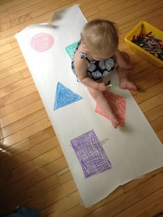 Shape hopscotch for infants and toddlers. Great for crawling older infants, toddlers learning to walk, or young preschoolers who are learning their shapes names. Easy to create with what you have on hand.