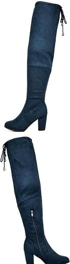 DREAM PAIRS HIGHLEG Womens Thigh High Fashion Over The Knee Drawstring Strech Block Mid Heel Boots DARK BLUE - This product had no reviews so naturally I was nervous to buy them. But all other sellers with similar boots were either expensive or sold out of black. Im so glad I bought these they are so so cute and I get tons of compliments on them even though I have only worn them twice so far. I highly recommend these boots. #SHOES