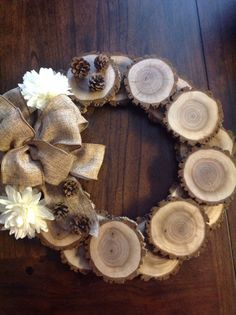 Rustic Tree Slice Wreath