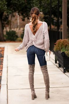 'Katy' Long Sleeve Twist Detail Knit Sweater (Rose Mocha) - Pineapple Collective Casual Fall Outfits You Must Buy Now. Fall Outfits 2018, Nye Outfits, Cute Fall Outfits, Warm Outfits, Preppy Outfits, Winter Fashion Outfits, Women's Summer Fashion, Sweater Outfits, Cool Outfits