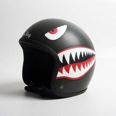 Shark tooth snarl helmet, reminiscent of the WW2 Curtiss P-40 Warhawk
