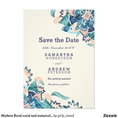 Modern floral coral teal watercolor save the date 5x7 paper invitation card