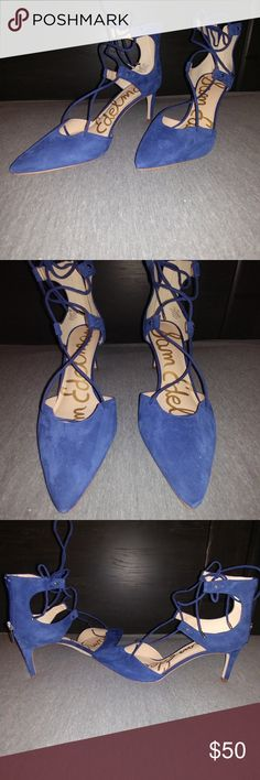 Sam Edelman suede pumps Royal blue suede laces up front and ties at the ankle. Zips up the back Sam Edelman Shoes Heels