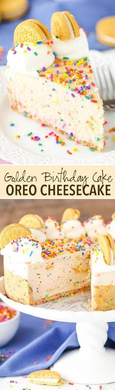 No Bake Golden Birthday Cake Oreo Cheesecake! Golden Oreos, cake mix and lots of sprinkles make this cheesecake amazing!