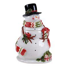 Certified International Snowy Night Snowman 3-D Snowman Cookie Jar