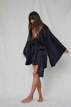 2e6f430e54 Pure Silk Short Robe in Black with Kimono Sleeves. Mrs Fray