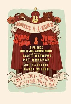 """SAN FRANCISCO! On May 15, Sammy Hagar (The Red Rocker) & James Hetfield unite an all-Star lineup featuring #NANCYWILSON, Billie Joe Armstrong, Joe Satriani, Pat Monahan and more for the 1st annual """"Acoustic 4-A-Cure"""" concert benefiting the Pediatric Cancer Program at UCSF Benioff Children's Hospital. This star-studded benefit event will be held at The Fillmore in San Francisco.  Tickets will go on sale beginning March 21 at 10AM."""