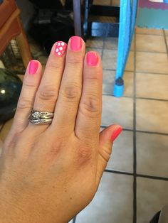 Pink matte and silver dots nails