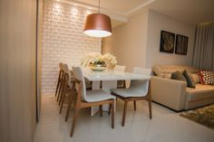 Revestimento 3d sala de jantar com luminaria andrea fonseca