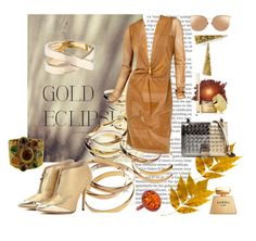 """Gold leaf"" by kitty-kimber ❤ liked on Polyvore featuring Chanel, Jimmy Choo, Linda Farrow, Michael Barin, Bottega Veneta, La Perla, Tom Ford, By Terry and Hermès"