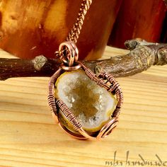 Druzy Agate Geode Pendant Antiqued Copper Wire Wrapped Natural Rough Gemstone #MBAHandmade #Wrap