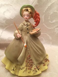 Josef Originals Artist Girl Painting Career Series Figurine Vintage 7"