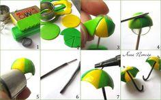 Нам понадобятся:- полимерная глина (фимо);- лезвие;- скалка;- крупная стеклянная бусина (1,5 см);- круглые формочки (3 и 1,5 см);- спица или стек;- зубочистка;- фурнитура (швензы и штифты).Шаг 1Разомните кусочки пластики и раскатайте скалкой до толщины 1 мм. Можно сделать зонт с узорами, если использовать срезы колбасок из пластики.Шаг 2Большой формочкой вырежьте из раскатанных пластов круги и поделите каждый лезвием на 8 частей.