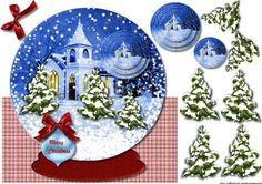 Snow Globe Christmas Church on Craftsuprint designed by Marijke Kok - Christmas quick card with a vintage church,for a beautiful christmas card,over the top. - Now available for download!