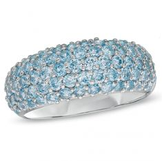 Sterling Silver Blue Topaz Pavé Band If sparkle is the goal, this ring is the answer. Beautifully crafted in fine sterling silver, this band is completely pavé-set with glistening regal blue topaz. This soft blue look captivates all Mommy Jewelry, I Love Jewelry, Modern Jewelry, Stone Jewelry, Blue Topaz Stone, Blue Topaz Ring, Pandora Necklace, Engraved Necklace, Jewelry Stores