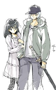 Kagome and Inuyasha in her world.