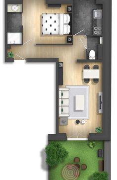 apartment floor plans Floor plan rendering by on DeviantArt Floor plan rendering by Small House Plans, House Floor Plans, Studio Apartment Layout, Apartment Floor Plans, Small House Design, House Layouts, Minimalist Home, How To Plan, Oak Flooring