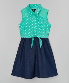 Look at this Mint Denim Dress - Toddler & Girls on #zulily today!