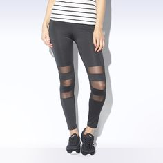 For a touch of urban style, these girls' leggings flash mesh inserts at the knee.