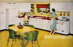 https://flic.kr/p/4mpPNr | 1950 Kitchen Design | Yellow and Red 1950s retro kitchen design.  See more Atomic Kitchens  Ranch Style House Plans