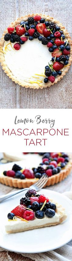 A Lemon Berry Mascarpone Tart is a simple, delicious way to show off all the season's best berries. A creamy mascarpone filling, a hint of fresh lemon, and four kinds of berries, all on top of a delicious shortbread crust!
