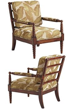 Pier 1's spiced-up version of the centuries-old bobbin frame has all the details that define the style: Hardwood frame, spindled arms and legs, deep comfortable cushions. Plus, its hand-woven upholstery features a beautiful, botanical pattern.