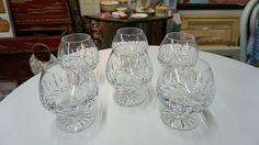 ATLANTIC CRYSTAL BRANDY GLASSES FATIMA PATTERN Barware Drink Glasses #Atlantis