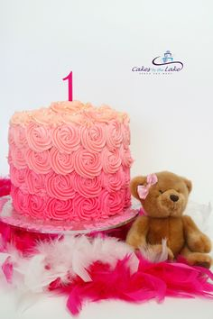 PRETTY PINK ROSETTE CAKE Another busy week with this double-barrel butter cake featuring an ombre and rosette finish in a number of shades of pink. This cake is perfect for a beautiful young girls 1st Birthday www.cakesbythelake.com.au www.instagram.com/cakes_by_the_lake