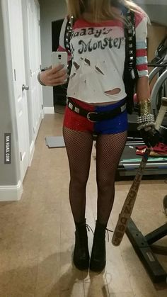 Handmade Harley Quinn Suicide Squad Cosplay w/ Hand painted shirt and bat, Handmade belt, and Hand Sewn Shorts