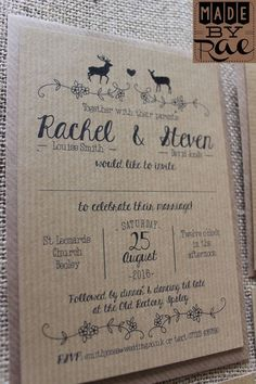 Rustic Kraft Whimsical Woodland Deer & Stag Wedding Stationery Invitations.  Large matching stationery collection available. Can also be printed onto Cream, Ivory or White card. Samples can be purchased on ebay for £1.