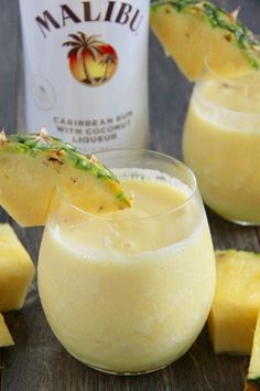 Today I'm sharing the ultimate summer drink, the Pineapple Rum Slushie! This has been my go-to drink lately as it tastes like a pina colada but with a lot less calories! And even better, you will only need 3 ingredients and a couple of Refreshing Drinks, Fun Drinks, Beverages, Drinks With Malibu Rum, Fruity Drinks With Rum, Best Drinks, Fruity Mixed Drinks, Easy Mixed Drinks, Mango Drinks