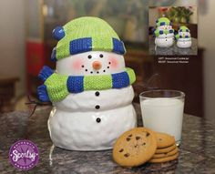 October 2013 #Scentsy Host Exclusive!! Designed to match the new Snowman Warmer (available Oct. 1), this frosty friend will hold all your holiday goodies. The Snowman Cookie Jar can be purchased for 50.00 (U.S.) using Host Rewards or just 25.00 (U.S.) using Half-Price Host Rewards. This offer is available only to Hosts who throw a qualifying party of 150.00 (U.S.) or more, and only while supplies last :)
