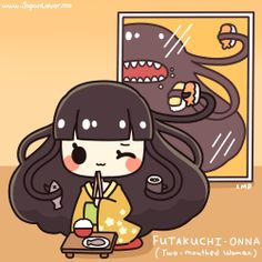 A futakuchi-onna (二口女) is a type of yokai from Japanese folklore that is in the form of a woman with two mouths: one normal mouth, and one big mouth on the back of her head.   ((((;゜Д゜)))  Full Story: www.facebook.com/JapanLoverMe  Art by Little Miss Paintbrush ♥ Sharing the Worldwide JapanLove ♥ www.japanlover.me ♥ www.instagram.com/JapanLoverMe