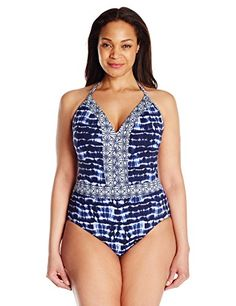 e12c2026557 Bleu | Rod Beattie Women's Plus Size I'Ve Got You Babe Halter One Piece  Swimsuit, Indigo, 16W at Amazon Women's Clothing store: