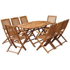 Acacia Wood Patio Dining Set offers an Outdoor Table & Foldable Chairs (Number of chair option) Sets - Natural, Patio Furniture Garden Dining Set, Patio Dining Chairs, Outdoor Dining Set, Outdoor Chairs, Dining Sets, Arm Chairs, Garden Table, Garden Furniture Sets, Best Outdoor Furniture